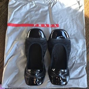 Prada Sport mesh & Leather cap toe ballet flats